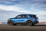 Picture of a 2020 Ford Explorer ST EcoBoost 4WD in Atlas Blue Metallic from a rear left three-quarter perspective