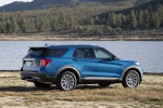 Picture of a 2020 Ford Explorer Hybrid Limited 4WD in Atlas Blue Metallic from a rear right three-quarter perspective