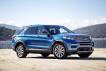 Picture of a 2020 Ford Explorer Hybrid Limited 4WD in Atlas Blue Metallic from a front right three-quarter perspective