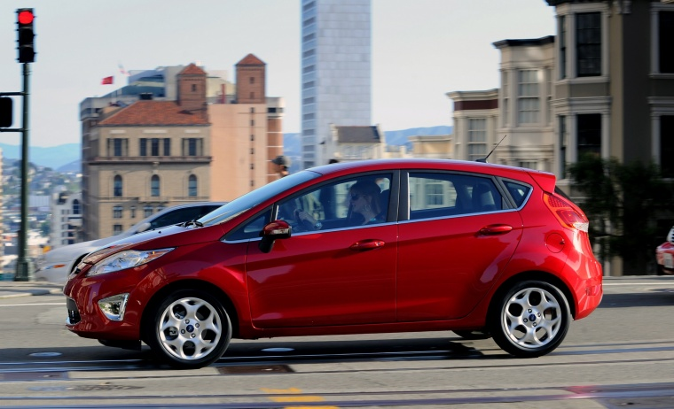 2013 Ford Fiesta Hatchback In Ruby Red Metallic Tinted Clearcoat Color Driving Side View