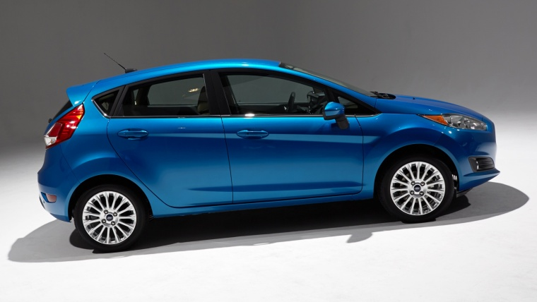 2015 Ford Fiesta Hatchback Titanium in Blue Candy Metallic Tinted Clearcoat from a right side view