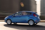 2018 Ford Fiesta Hatchback Titanium in Blue - Driving Rear Left Three-quarter View