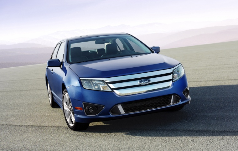 2011 Ford Fusion Sport in Steel Blue Metallic from a front right view