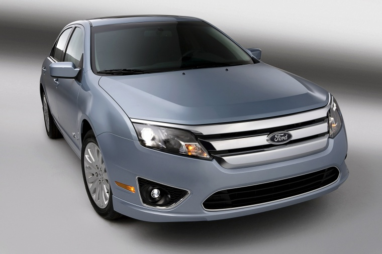 2012 Ford Fusion Hybrid in Light Ice Blue Metallic from a front right view