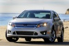2012 Ford Fusion Sport AWD in Brilliant Silver Metallic from a front left view