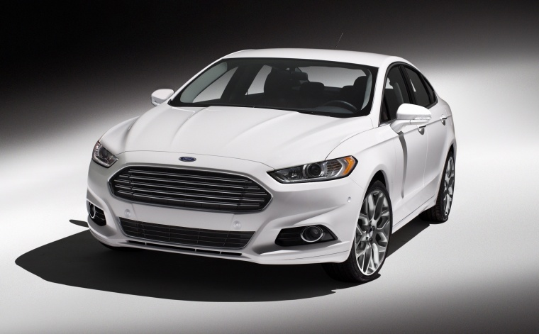2015 Ford Fusion Titanium AWD in Oxford White from a front left view