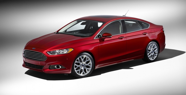 2016 Ford Fusion Titanium AWD in Ruby Red Metallic Tinted Clearcoat from a front left three-quarter view