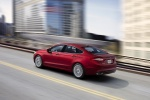 2016 Ford Fusion Titanium AWD in Ruby Red Metallic Tinted Clearcoat - Driving Rear Left Three-quarter View