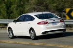 2016 Ford Fusion Titanium AWD in Oxford White - Driving Rear Left Three-quarter View