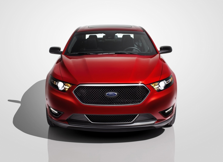 2014 Ford Taurus SHO Sedan in Ruby Red Metallic Tinted Clearcoat from a frontal view