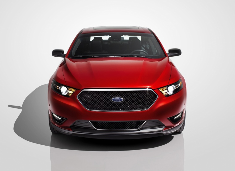 2016 Ford Taurus SHO Sedan in Ruby Red Metallic Tinted Clearcoat from a frontal view
