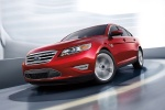 2018 Ford Taurus SHO Sedan in Ruby Red Metallic Tinted Clearcoat - Driving Front Left Three-quarter View
