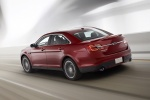 2018 Ford Taurus SHO Sedan in Ruby Red Metallic Tinted Clearcoat - Driving Rear Left Three-quarter View