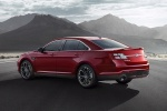 2018 Ford Taurus SHO Sedan in Ruby Red Metallic Tinted Clearcoat - Static Rear Left Three-quarter View