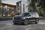 Picture of a 2019 GMC Acadia All Terrain in Ebony Twilight Metallic from a front left three-quarter perspective