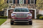 Picture of a 2019 GMC Acadia Denali in Red from a frontal perspective