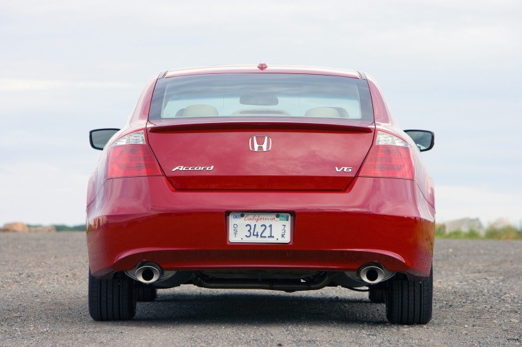 Great 2010 Honda Accord Coupe V6 In San Marino Red From A Rear View