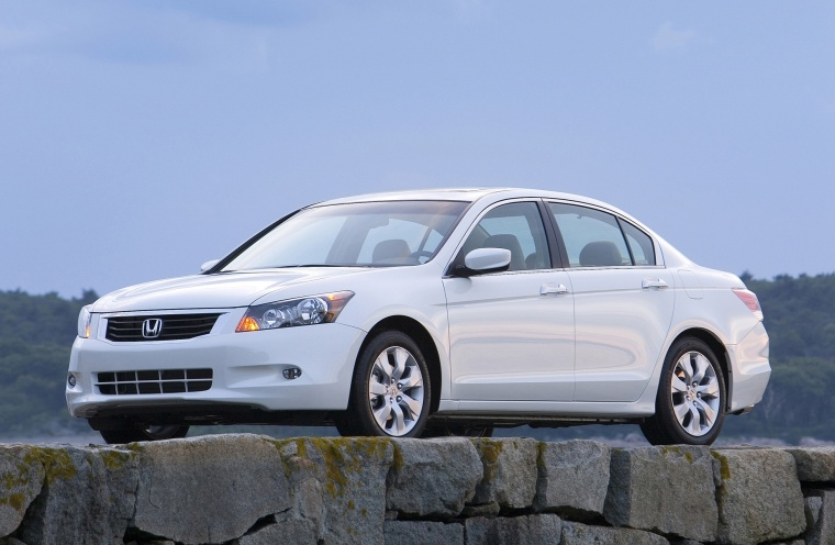 2010 Honda Accord Sedan V6 in White Diamond Pearl from a front left three-quarter view