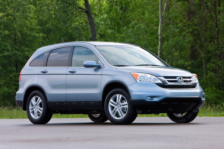 2011 Honda CR-V EX-L in Glacier Blue Metallic from a front right three ...