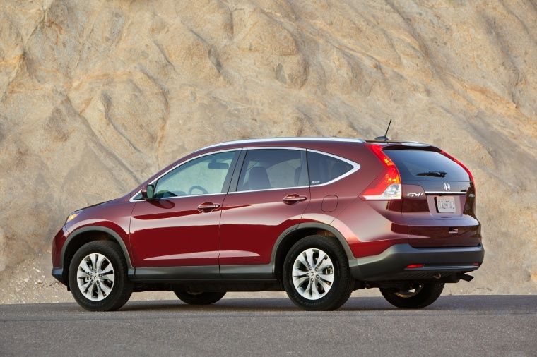 2012 Honda CR-V EX-L AWD in Basque Red Pearl II from a rear left three-quarter view