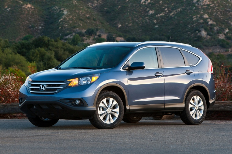 2012 Honda CR-V EX-L AWD in Twilight Blue Metallic from a front left three-quarter view