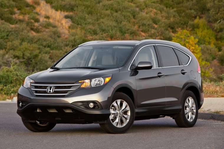 2012 Honda CR-V EX-L AWD in Urban Titanium Metallic from a front left view