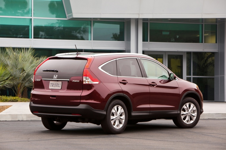 2012 Honda CR-V EX-L AWD in Basque Red Pearl II from a rear right three-quarter view