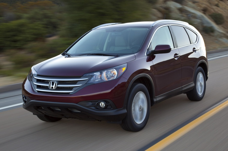 2013 honda cr v ex l awd in basque red pearl ii color driving front left view picture image. Black Bedroom Furniture Sets. Home Design Ideas
