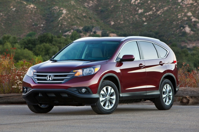 Picture of a 2014 Honda CR-V EX-L AWD in Basque Red Pearl II from a front left perspective