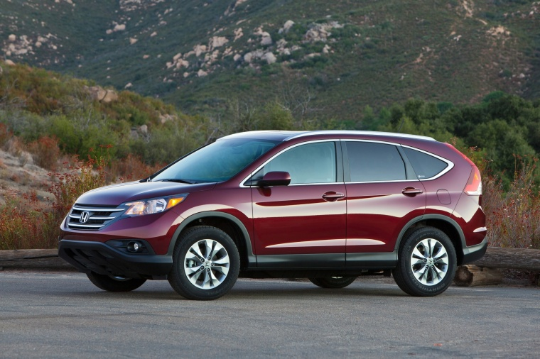Picture of a 2014 Honda CR-V EX-L AWD in Basque Red Pearl II from a front left three-quarter perspective