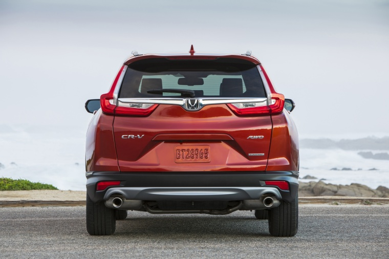 Picture of a 2017 Honda CR-V Touring AWD in Molten Lava Pearl from a rear perspective