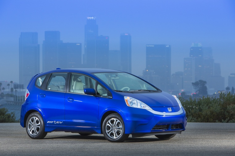 2013 Honda Fit EV in Reflection Blue Pearl from a front right three-quarter view