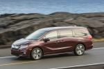 2018 Honda Odyssey Elite in Deep Scarlet Pearl - Driving Front Left Three-quarter View