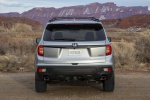 Picture of a 2020 Honda Passport Elite AWD in Lunar Silver Metallic from a rear perspective