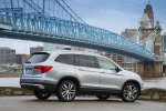 Picture of a 2016 Honda Pilot AWD in Lunar Silver Metallic from a rear right three-quarter perspective