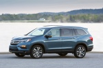 Picture of a 2017 Honda Pilot AWD in Steel Sapphire Metallic from a front left three-quarter perspective