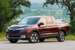 2018 Honda Ridgeline AWD in Deep Scarlet Pearl - Static Front Left Three-quarter View