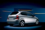 2011 Hyundai Accent Hatchback in Platinum Silver Pearl - Static Rear Right Three-quarter View