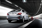 2013 Hyundai Accent GLS Sedan in Ironman Silver - Driving Rear Right View