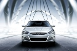 2013 Hyundai Accent GLS Sedan in Ironman Silver - Driving Frontal View