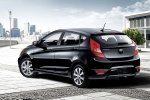 2013 Hyundai Accent Hatchback in Ultra Black - Static Rear Left Three-quarter View