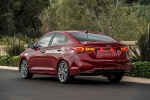 2018 Hyundai Accent Sedan in Pomegranate Red - Static Rear Left View