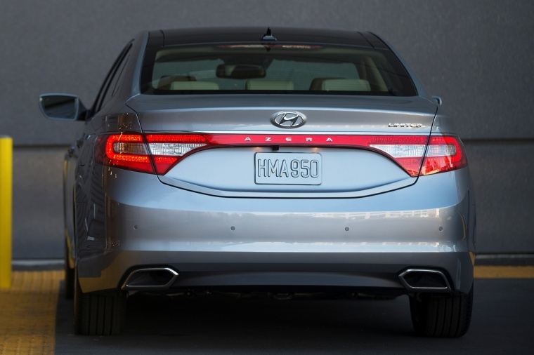 2016 Hyundai Azera Limited in Pewter Gray Metallic from a rear view