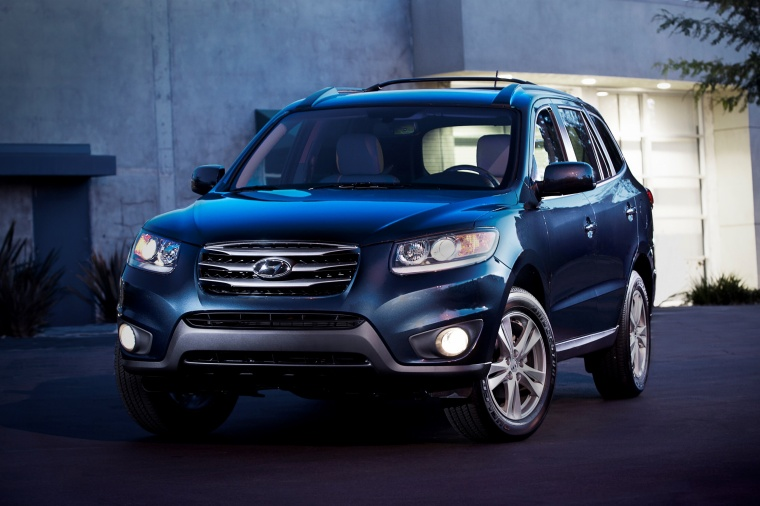 2012 hyundai santa fe limited awd in pacific blue pearl color static front left view picture. Black Bedroom Furniture Sets. Home Design Ideas
