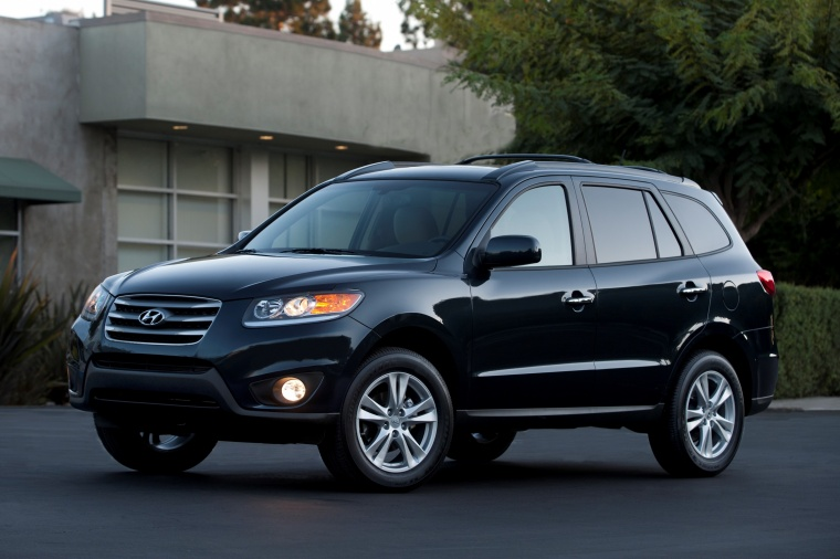 2012 Hyundai Santa Fe Limited AWD in Pacific Blue Pearl from a front left three-quarter view