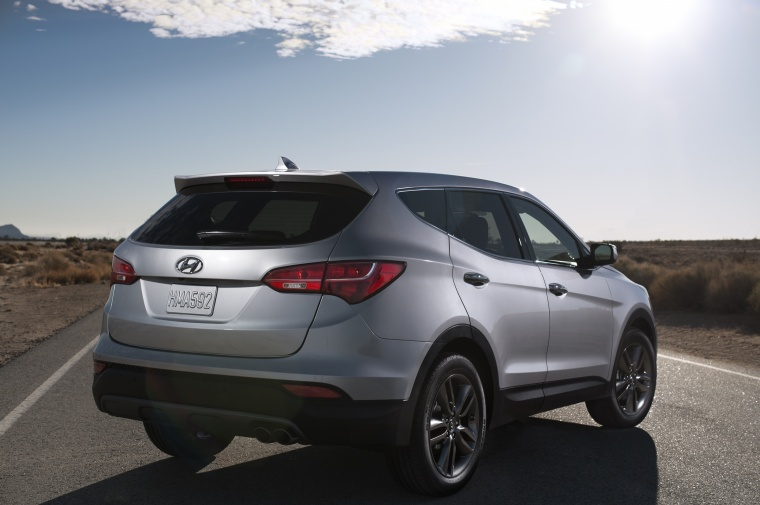 2013 Hyundai Santa Fe Sport in Moonstone Silver from a rear right view