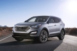 Picture of a 2016 Hyundai Santa Fe Sport in Sparkling Silver from a front left perspective