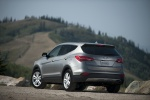 Picture of a 2016 Hyundai Santa Fe Sport in Sparkling Silver from a rear left perspective