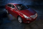 2012 Hyundai Sonata in Sparkling Ruby Mica - Static Front Right Three-quarter View