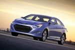 2012 Hyundai Sonata Hybrid in Blue Sky Metallic - Driving Front Left Three-quarter View